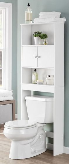 Wood Bathroom Space Savers Luxury Over the toilet Space Saver Ikea Bathroom Space Saver Bathroom Storage Over Toilet, Bathroom Floor Cabinets, Toilet Shelves, Bathroom Storage Shelves, Wood Bathroom, Bathroom Furniture, White Bathroom, Bathroom Interior Design, Space Saver