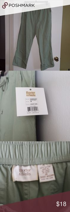 NWT Spring & Summer Pants Pale green 100% cotton pants with elastic adjustable waist, zip, button, and tie front, pockets front and back, decorative rivets.  Short length.  New with tags. Baxter & Wells Pants Straight Leg