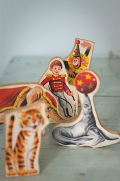 Five Vintage Wooden Circus Figures by pleasantview on Etsy