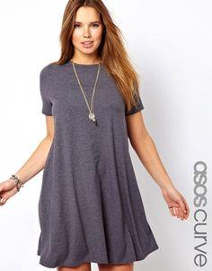 Image 1 ofASOS CURVE Swing Dress With Short Sleeves