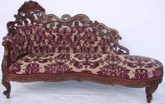 Rare J.H. Belter Rosewood Recamier With A Great Pierced Carved Crest Rail Similar To Fountain Elms Pattern   c.1870's