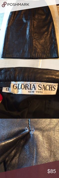 Gloria Sachs New York Leather Pencil Skirt She is known for leather jackets but you rarely see these leather skirts. Gorgeous! Only wear is I the back above the kick pleat. Gloria Sachs New York Skirts Pencil