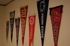 Unique Way To Hang Sports Pennants Use A Curtain Rod And Curtain Rings I Then Switched Out The