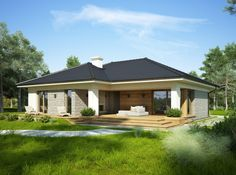 DOM.PL™ - Projekt domu FA OCEANIA CE - DOM GC6-28 - gotowy projekt domu Modern Bungalow House, Bungalow House Plans, Dream House Plans, Small House Plans, My Dream Home, Spanish House, Story House, Facade House, House Colors