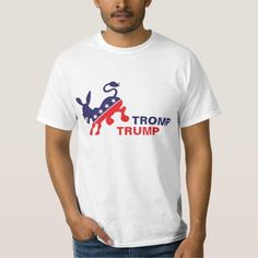 Tromp Trump Kicking Democratic Donkey Political T-shirt--The Democratic donkey is smiling and kicking The Donald's ass, metaphorically, on this funny political statement tee-shirt. Wear one and give them to all your friends--the 2016 election is sneaking up on us and Democrats need to mobilize to be sure the country doesn't end up with The Trumpster as President. HUUUUGE mistake--lol. Find it here…