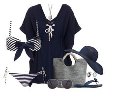 """beach#2"" by beanieboot ❤ liked on Polyvore featuring Heidi Klein, Flora Bella, C. Wonder, GUESS, Linda Friedrich Jewelry, MANGO, Summer, beach, beachwear and navyblue"
