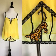 Uncage Me Babydoll Set | 1970s Vintage Glydons of Hollywood Sheer Yellow Caged Tiger Nightie + Matching Panties | Size S