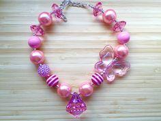 On Sale Butterfly Chunky Necklace Pink by CLulusLittleLovelies