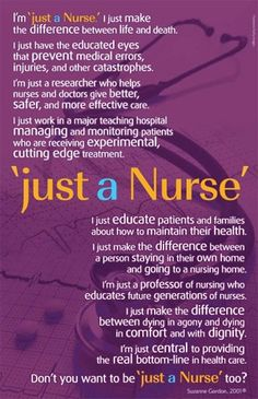 "I didn't decided to be a nurse because I couldn't get into med school. I'm glad to be ""just a nurse""."