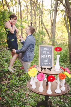 vibrant colorful vintage engagement styled shoot proposal garden chandelier chalkboard signs daises flowers : will you marry me? sign art by I DO SIGNS : www.i-do-signs.com : pop the question Wedding Proposals, Marriage Proposals, Woodsy Wedding, Wedding Shoot, Chalkboard Wedding, Chalkboard Signs, Home Board, Party Signs, Gerbera