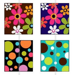 Flowers and Polka Dots  one 4x6 inch digital sheet of