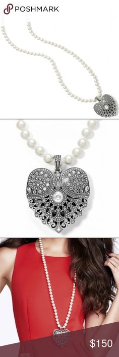 """⭐️Brighton Heart & Pearl Necklace Closure: Twist Length: 36"""" Pendant Drop: 3"""" Material: Swarovski crystal, Glass pearl Finish: Silver plated Brighton Jewelry Necklaces"""