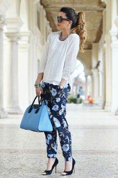 white pullover and floral pants