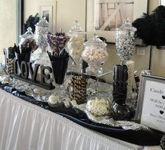 30 of the Best Candy/ Sweet Bar Party Ideas wedding candy bar Candy Bar Wedding, Wedding Desserts, White Candy Bars, Bar A Bonbon, Lolly Buffet, Sweet Bar, Sweet Buffet, Sweet Tables, New Years Eve Weddings