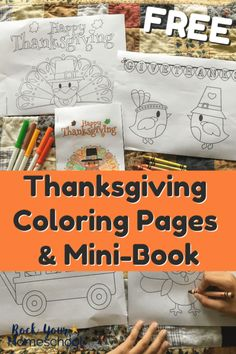 These free Thanksgiving Coloring Pages & Mini-Book are excellent ways to have holiday fun with kids! Use with your classroom, homeschool, & family to help your kids celebrate & keep busy. Free Thanksgiving Coloring Pages, Thanksgiving Activities For Kids, Thanksgiving Crafts For Kids, Infant Activities, Fun Activities, Holiday Fun, Holiday Ideas, Business For Kids, Mini Books