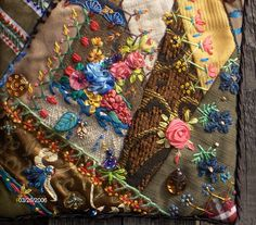 I ❤ crazy quilting . . .   Crazy Quilted Purse Detail- Close up of silk ribbon embellishment.