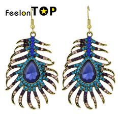 Basketball Wives Crystal Peacock Dangle Earrings //Price: $5.98 & FREE Shipping //     #cheapearrings