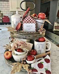 This apple cider sign is adorable for fall displays! It goes great on tiered trays, hutches, shelves and more! Each sign is painted, distressed and covered with a paper pattern. Then the wood cut out is painted and stamped. Rustic Fall Decor, Fall Home Decor, Autumn Home, Tray Styling, Seasonal Decor, Fall Decorations, September Decorations, Apple Decorations For Kitchen, Halloween Decorations