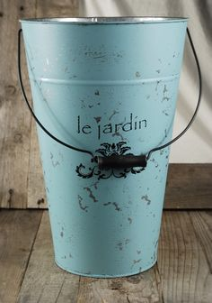 Le Jardin  Blue 15in. Flower Market Buckets w/ Handles $26 each / 3 for $24 each