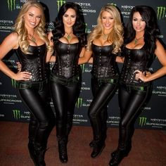 Monster Energy Girls, Monster Girl, Leather Catsuit, Leather Pants, Leather Outfits, Black Leather, Car Show Girls, Promo Girls, Umbrella Girl