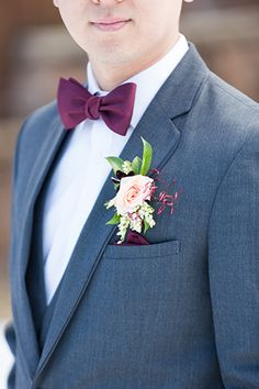 Canyons Resort Utah Wedding Charcoal Grey Groom's Suit with a Burgundy Bow Tie