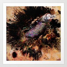 Crow in the dark Art Print by ganech - $15.60
