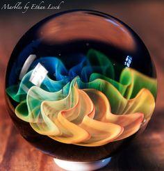 "1.45"" HANDMADE MARBLE SIGNED BY ~ETHAN LESCH~ BOROSILICATE, BORO, ART, MIB #Glass"