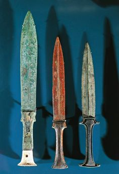 Ancient Egyptian bronze daggers with electrum blades and ivory handles. Now in the Louvre, Paris.