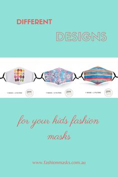 Colorful and fun designs for your kids to choose from! :)   Check our page for more stylish designs - fashionmasks.com.au Fashion Mask, Cool Designs, Kids Fashion, Colorful, Stylish, Check, Child Fashion, Fashion Children, Kid Styles