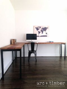 The ideal L-Shaped Desk solution for your home or office. This desk is made from reclaimed ceiling joists from a factory in Baltimore, MD and