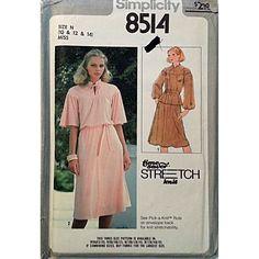 Misses Two Piece Dress Simplicity 8514 Pattern 1978 Vintage Size 10 12 14 c928 #Simplicity