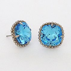 the Aqua crystal stud earrings by Sorrelli at Perfect Details are the perfect Something Blue! The shade of blue is just ethereal and it doubles as something you could then wear every day - reminding you fondly of your wedding day :)