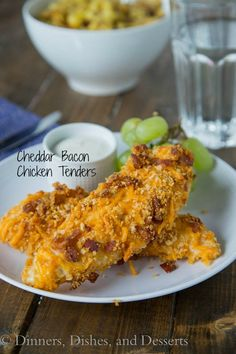 Cheddar Bacon Chicken Tenders - homemade chicken tenders coasted in a cheddar and bacon breadcrumb mixture.  Sure to please the entire family!