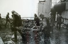 """Biorobots"" - men tasked with cleaning up the highly radioactive graphite on top of the roof of reactor building 3 after the Chernobyl nuclear accident."