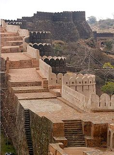 "Kumbhalgarh Fort,  Rajsamand District, Rajasthan, India...   www.castlesandmanorhouses.com   ...    Kumbhalgarh is a Mewar fortress and World Heritage Site ""Hill Forts of Rajasthan"". It was built during the 15th century by Rana Kumbha and enlarged through to the 19th century.  According to an uncle of the present Maharana of Udaipur, it was designed to allow four horsemen to ride abreast around the walls (The steps are more recent)."