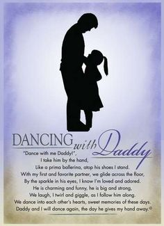 "Dancing with Daddy! If you were your Daddy's little dance partner, this is a wedding day gift he will cherish. Frame it with an old photo of the two of you, just for dad. ""Daddy and I will dance again, the day he gives my hand away"""