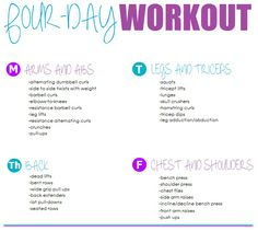 Four-day Workout Routine