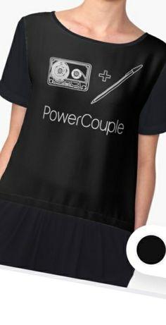 'Power Couple - Cassette and Pen' Chiffon Top by identiti Custom Design Shirts, Shirt Designs, Creative T Shirt Design, Pen Design, Chiffon Tops, V Neck T Shirt, Classic T Shirts, Hoodies, Mens Tops