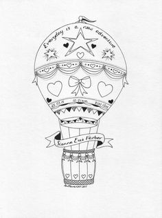 Hot air balloon drawing.  A beautiful hand drawn hot air balloon design ideal for a childs bedroom. Design is created on a personal and