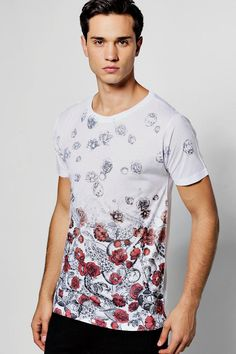 Rose Spiral Faded Sublimation T Shirt