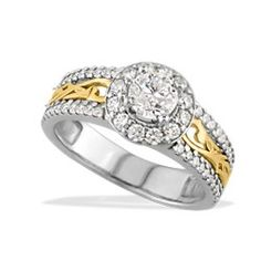 White and Yellow Gold Nalani Halo Ring with Diamonds - Rings - Jewelry Type