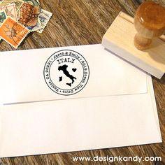 Italien Karte Custom Gummi Adresse Stempel mit Herz von Designkandy