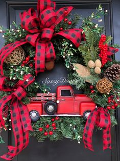 Red Truck Wreath, Red Truck Christmas Wreath, Rustic Christmas Wreath, Woodland … - Tips Woodland Christmas, Rustic Christmas, Christmas Crafts, Christmas Ornaments, Ornaments Ideas, Homemade Christmas Wreaths, Holiday Wreaths, Christmas Red Truck, Plaid Christmas