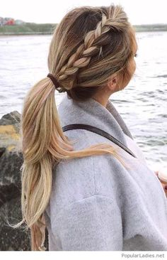 Side braid into a pony