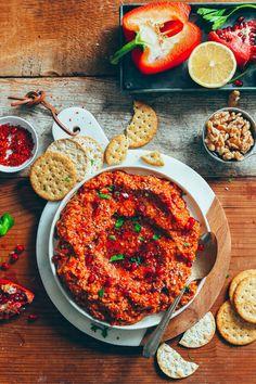 DELICIOUS Gluten-Free Muhamarra Dip! Flavorful, healthy, 10 ingredients required! #vegan #glutenfree #plantbased #muhamarra #dip #minimalistbaker #recipe