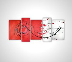 Abstract painting Red Canvas art  Red painting by MattRegtonShop, $199.00