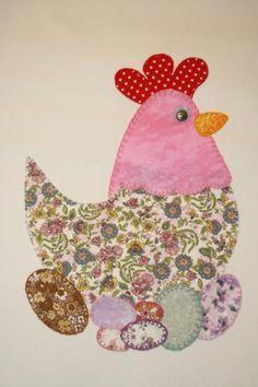delantal patchwork gallina  loneta,telas variadas patchwork,hilo de bordar apliques patchwork