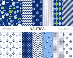 Nautical Paper pack in navy blue with whale anchor by BetsyRainbow, $2.00