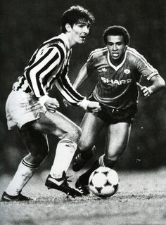 Paolo Rossi of Juventus takes on Remi Moses of Manchester United 1984 European Cup Winners Cup semifinal