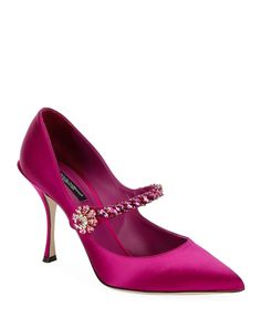 Dolce & Gabbana Satin Mary-jane Jeweled Pumps In Pink Slingback Shoes, Pumps Heels, Womens Fashion Sneakers, Fashion Shoes, Balmain Shoes, Designer Pumps, Pretty Shoes, Awesome Shoes, Satin Pumps